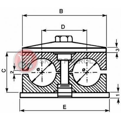 Uchwyt przewodów podwójny 20 mm
